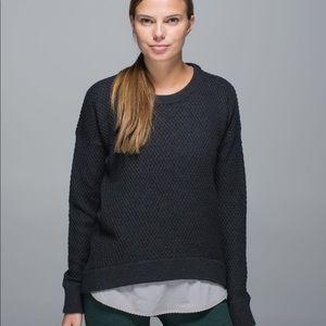 Lululemon Yogi Crew sweater heathered black